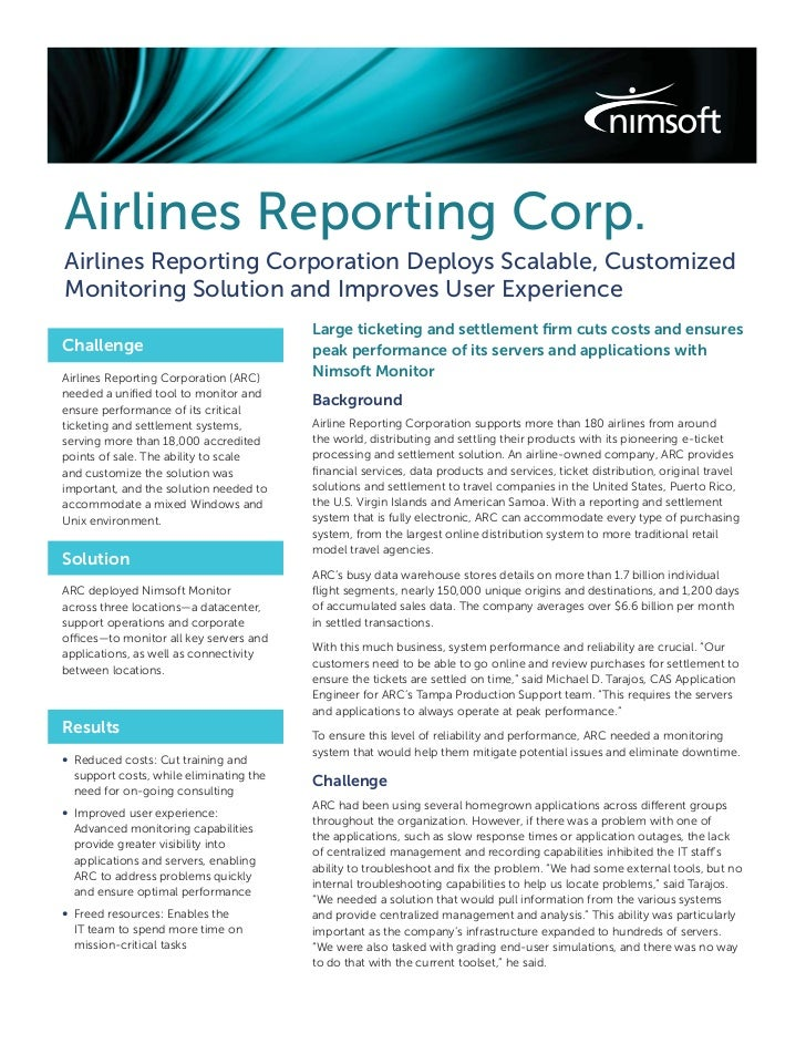 Airlines Reporting Corp.Airlines Reporting Corporation Deploys Scalable, CustomizedMonitoring Solution and Improves User E...