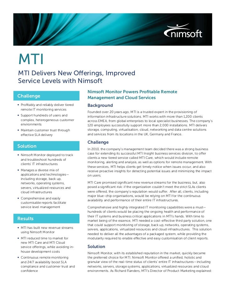 MTIMTI Delivers New Offerings, ImprovedService Levels with Nimsoft                                          Nimsoft Monito...