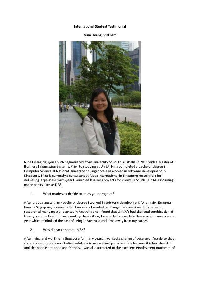 International Student Testimonial Nina Hoang, Vietnam  Nina Hoang Nguyen ThucNhagraduated from University of South Austral...