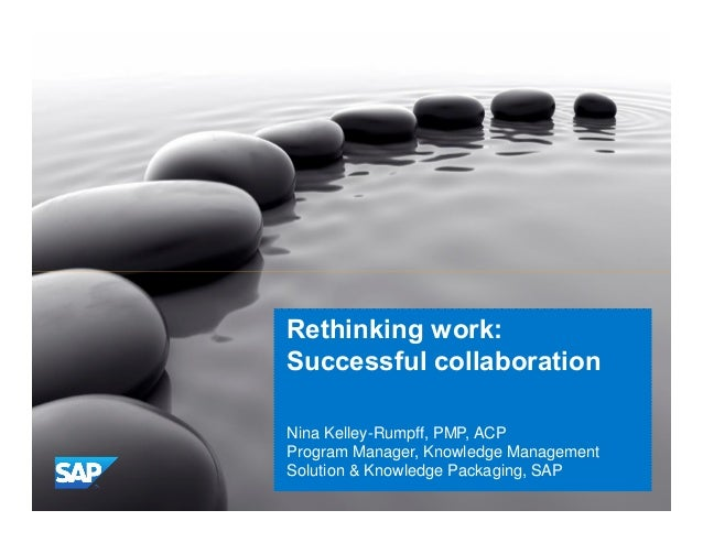 Public  Rethinking work: Successful collaboration Nina Kelley-Rumpff, PMP, ACP Program Manager, Knowledge Management Solut...