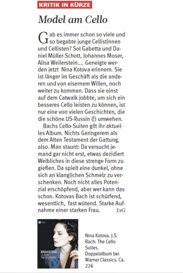 Nina Kotova:  Westdeutsche Allgemeine Zeitung Bach Cello Suites CD Recording Review.