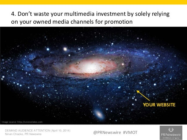 DEMAND AUDIENCE ATTENTION (April 10, 2014) Ninan Chacko, PR Newswire @PRNewswire #VMOT 4. Don't waste your multimedia inve...