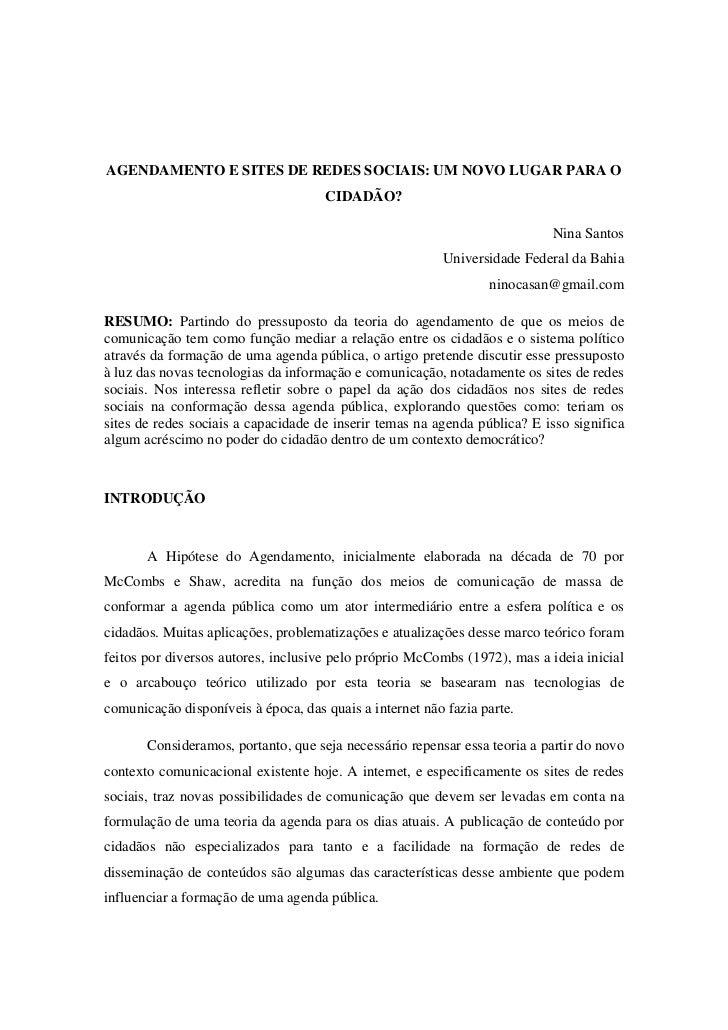 AGENDAMENTO E SITES DE REDES SOCIAIS: UM NOVO LUGAR PARA O                                     CIDADÃO?                   ...