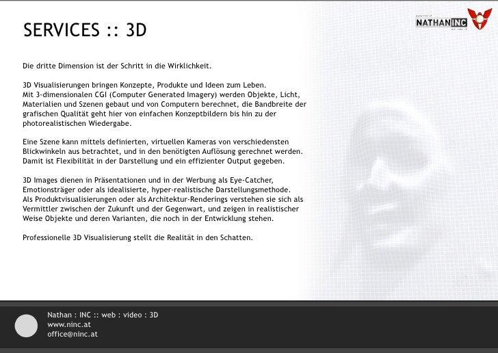 SERVICES :: 3D ANIMATION Der Schritt zu Film und Animation vollzieht sich im Bereich der 3D Visualisierung fließend.  Bere...