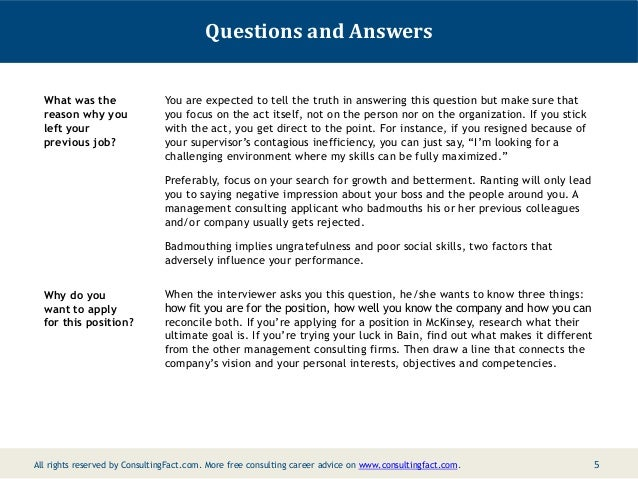 nine common management consulting fit interview questions