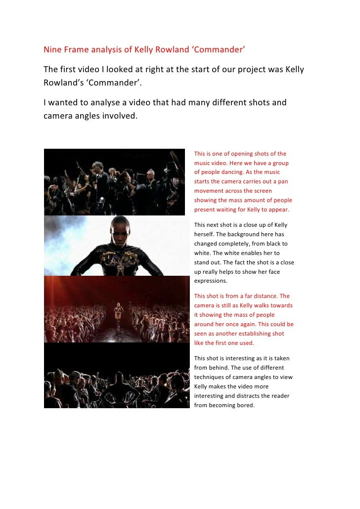 Nine Frame analysis of Kelly Rowland 'Commander' <br />The first video I looked at right at the start of our project was K...