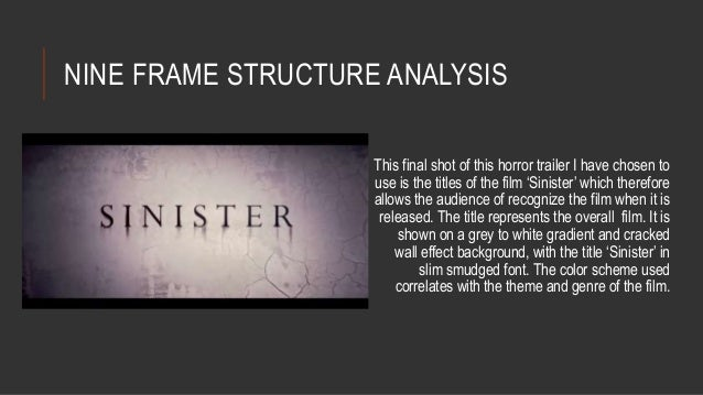 NINE FRAME STRUCTURE ANALYSIS  This final shot of this horror trailer I have chosen to  use is the titles of the film 'Sin...