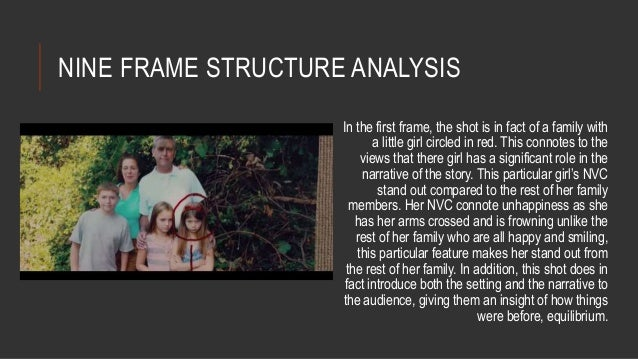 NINE FRAME STRUCTURE ANALYSIS  In the first frame, the shot is in fact of a family with  a little girl circled in red. Thi...