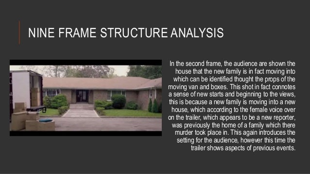 NINE FRAME STRUCTURE ANALYSIS  In the second frame, the audience are shown the  house that the new family is in fact movin...