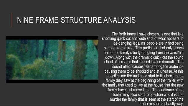 NINE FRAME STRUCTURE ANALYSIS  The forth frame I have chosen, is one that is a  shocking quick cut and wide shot of what a...