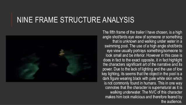 NINE FRAME STRUCTURE ANALYSIS  The fifth frame of the trailer I have chosen, is a high  angle shot/birds eye view of someo...
