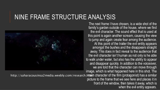 NINE FRAME STRUCTURE ANALYSIS  The next frame I have chosen, is a wide shot of the  family's garden outside of the house, ...