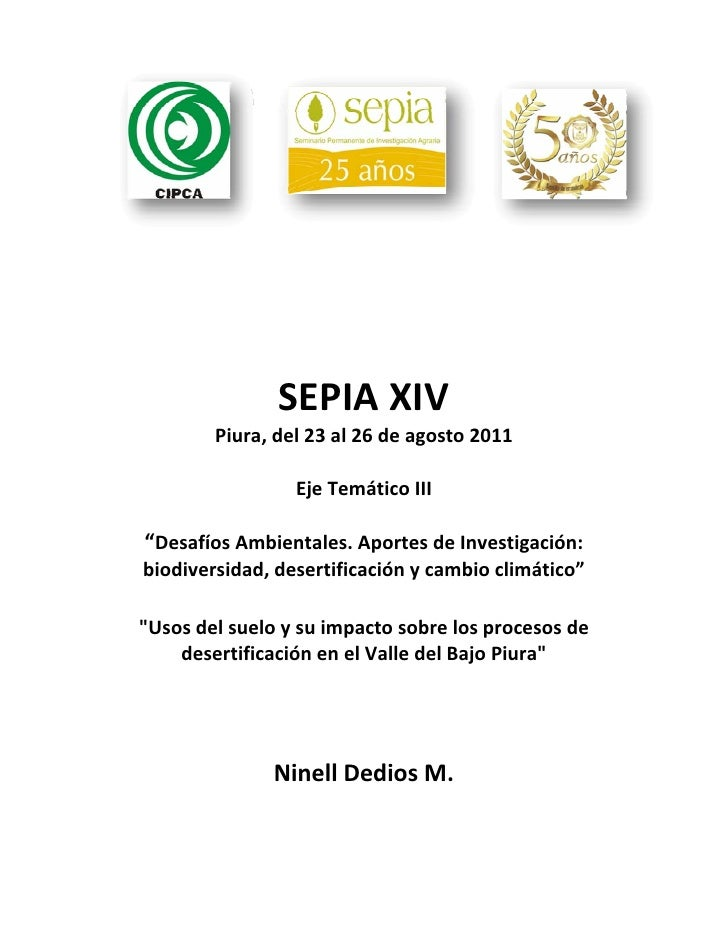 SEPIAXIV        Piura,del23al26deagosto2011                                           EjeTemáticoIII        ...