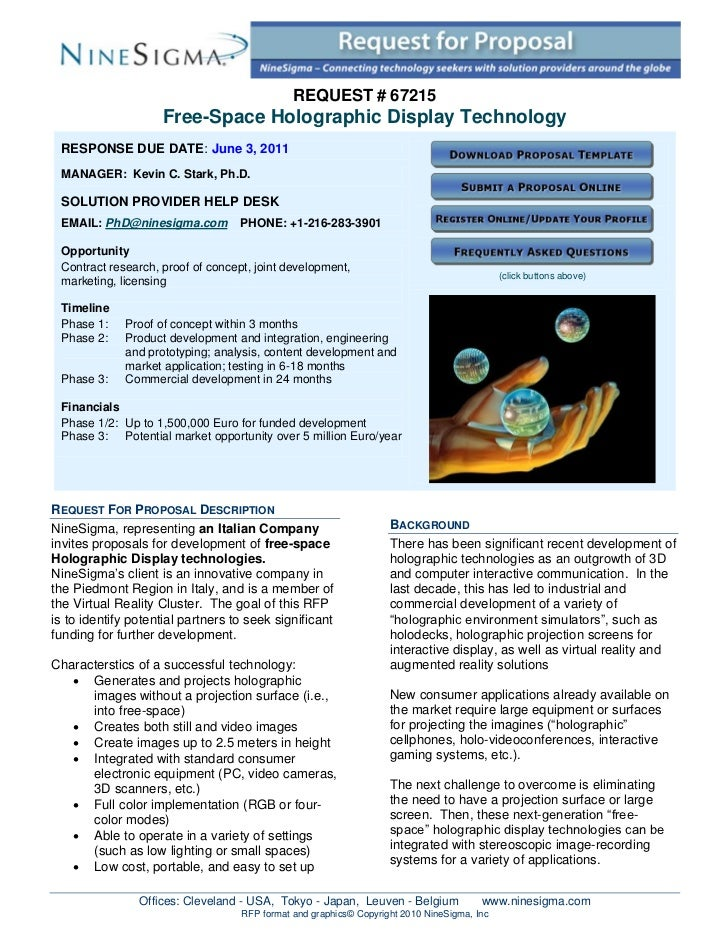 REQUEST # 67215                    Free-Space Holographic Display Technology RESPONSE DUE DATE: June 3, 2011 MANAGER: Kevi...
