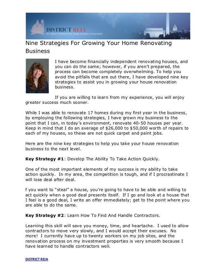 Nine Strategies For Growing Your Home RenovatingBusiness                I have become financially independent renovating h...