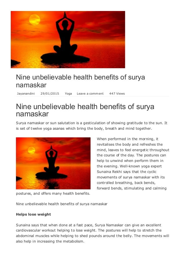 Nine Unbelievable Health Benefits Of Surya Namaskar Jayanandini 29 01 2015 Yoga Leave A