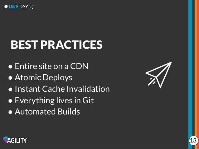 ● Entire site on a CDN ● Atomic Deploys ● Instant Cache Invalidation ● Everything lives in Git ● Automated Builds BEST PRA...