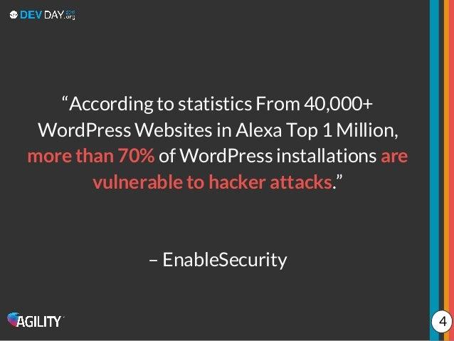 """According to statistics From 40,000+ WordPress Websites in Alexa Top 1 Million, more than 70% of WordPress installations ..."
