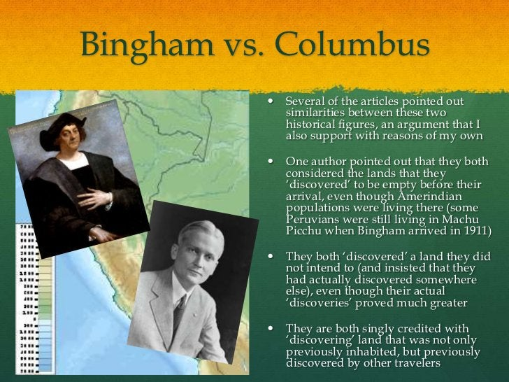 Bingham vs. Columbus             Several of the articles pointed out              similarities between these two         ...