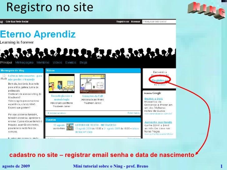 Registro no site cadastro no site – registrar email senha e data de nascimento