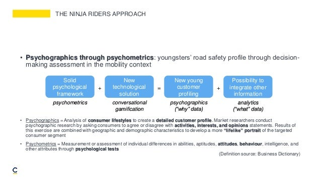 THE NINJA RIDERS APPROACH • Psychographics through psychometrics: youngsters' road safety profile through decision- making...