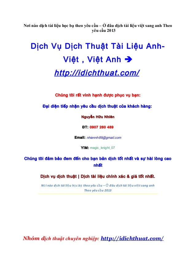 Nơi nào dịch tài liệu học bạ theo yêu cầu – Ở đâu dịch tài liệu việt sang anh Theo                                      yê...