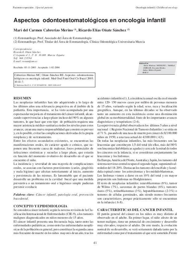 Pacientes especiales / Special patients Oncología infantil / Childhood oncology  Aspectos odontoestomatológicos en oncolog...