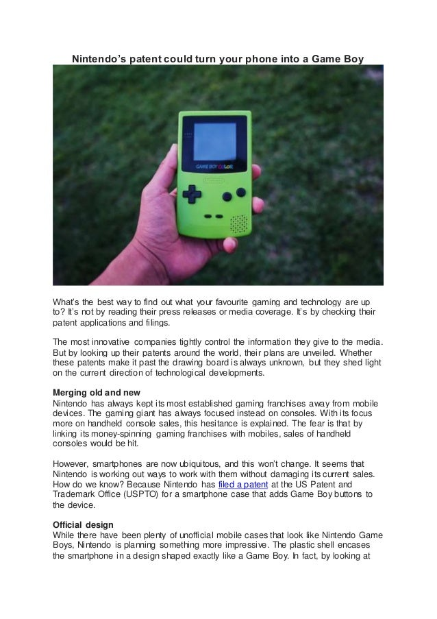 Nintendos patent could turn your phone into a game boy