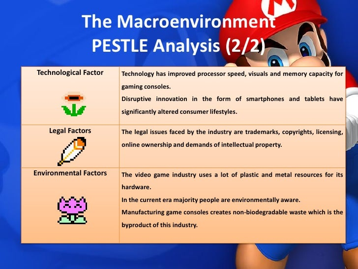 video game industry pest analysis Pestel analysis of video game industry industry background the video game industry (formally referred to as interactive entertainment) is the economic sector involved with the development.