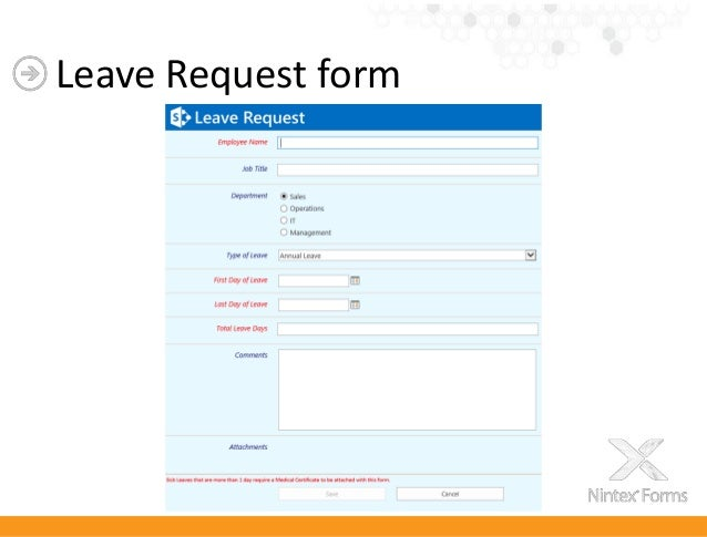 Nintex Forms 2013 – Leave Request Form Sample