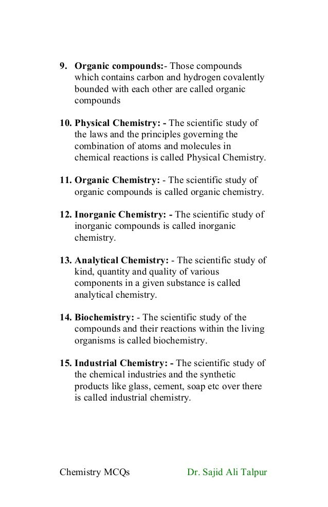 Definitions and MCQs of Ninth class chemistry (introduction