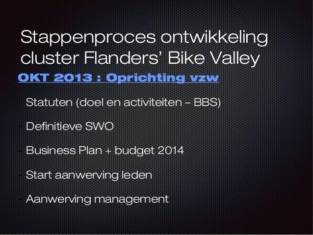 Stappenproces ontwikkeling cluster Flanders' Bike Valley OKT 2013 : Oprichting vzw Statuten (doel en activiteiten – BBS) -...