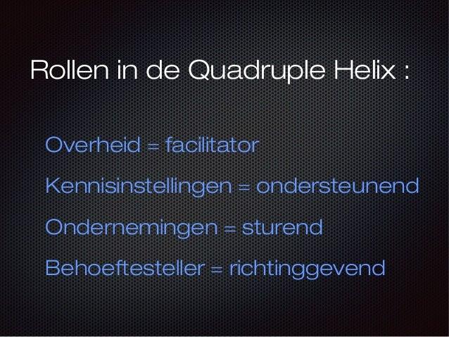 Rollen in de Quadruple Helix : Overheid = facilitator Kennisinstellingen = ondersteunend Ondernemingen = sturend Behoeftes...