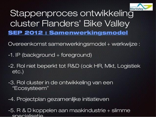 Stappenproces ontwikkeling cluster Flanders' Bike Valley SEP 2012 : Samenwerkingsmodel Overeenkomst samenwerkingsmodel + w...