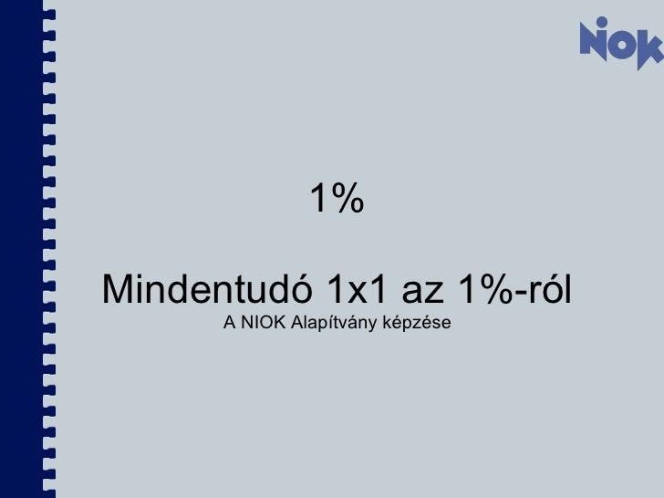 1%  Mindentudó 1x1 az 1%-ról  A NIOK Alapítvány képzése