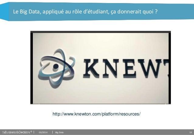 © 13 Le Big Data, appliqué au rôle d'étudiant, ça donnerait quoi ? http://www.knewton.com/platform/resources/ 03/2014 Big ...