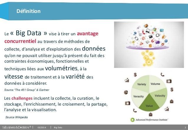 © 2 Définition 03/2014 Big Data Les challenges incluent la collecte, la curation, le stockage, l'enrichissement, le croise...