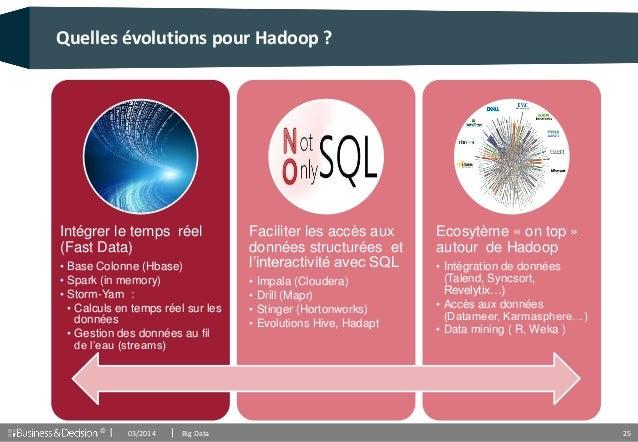 © 25 Quelles évolutions pour Hadoop ? Intégrer le temps réel (Fast Data) • Base Colonne (Hbase) • Spark (in memory) • Stor...