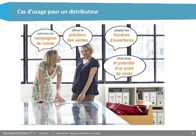 © 39 Cas d'usage pour un distributeur 03/2014 Table ronde : Big Data et industrie (Orange)