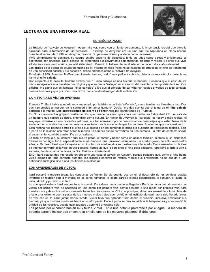 """Formación Ética y CiudadanaLECTURA DE UNA HISTORIA REAL:                                                        EL """"NIÑO S..."""