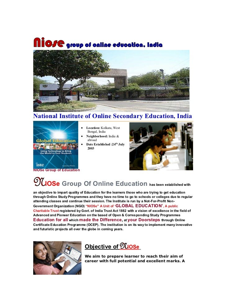 Niose group of online education, IndiaNational Institute of Online Secondary Education, India                             ...