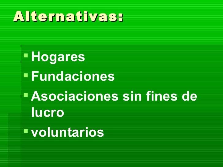 Alternativas: <ul><li>Hogares  </li></ul><ul><li>Fundaciones </li></ul><ul><li>Asociaciones sin fines de lucro </li></ul><...
