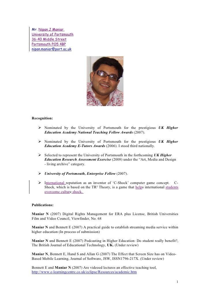 Mr. Nipan J Maniar University of Portsmouth 36-40 Middle Street Portsmouth PO5 4BP nipan.maniar@port.ac.uk     Recognition...