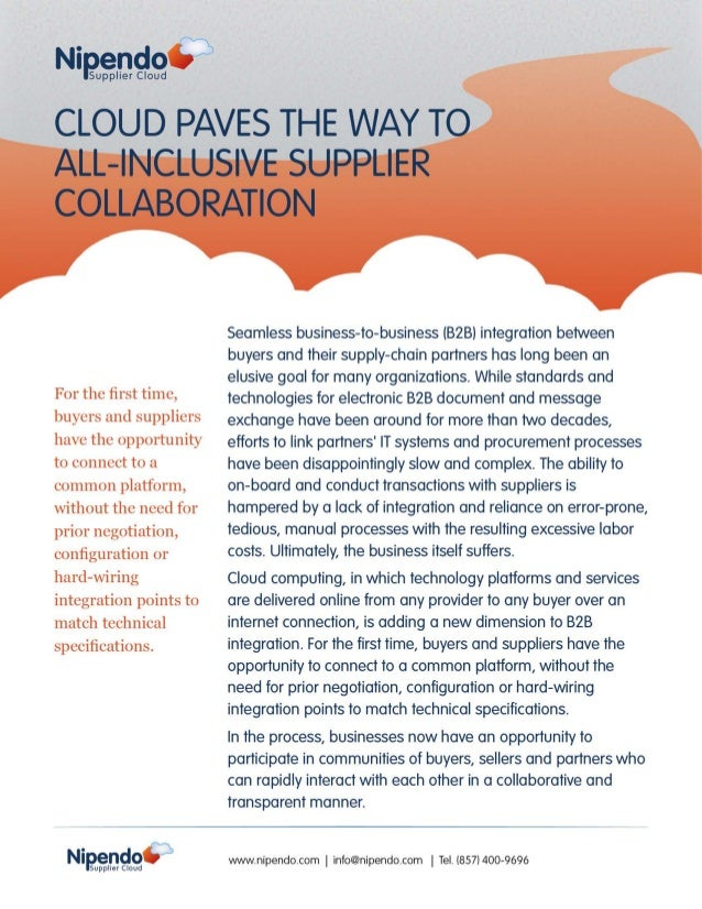 Cloud Paves the Way to All-Inclusive Supplier Collaboration
