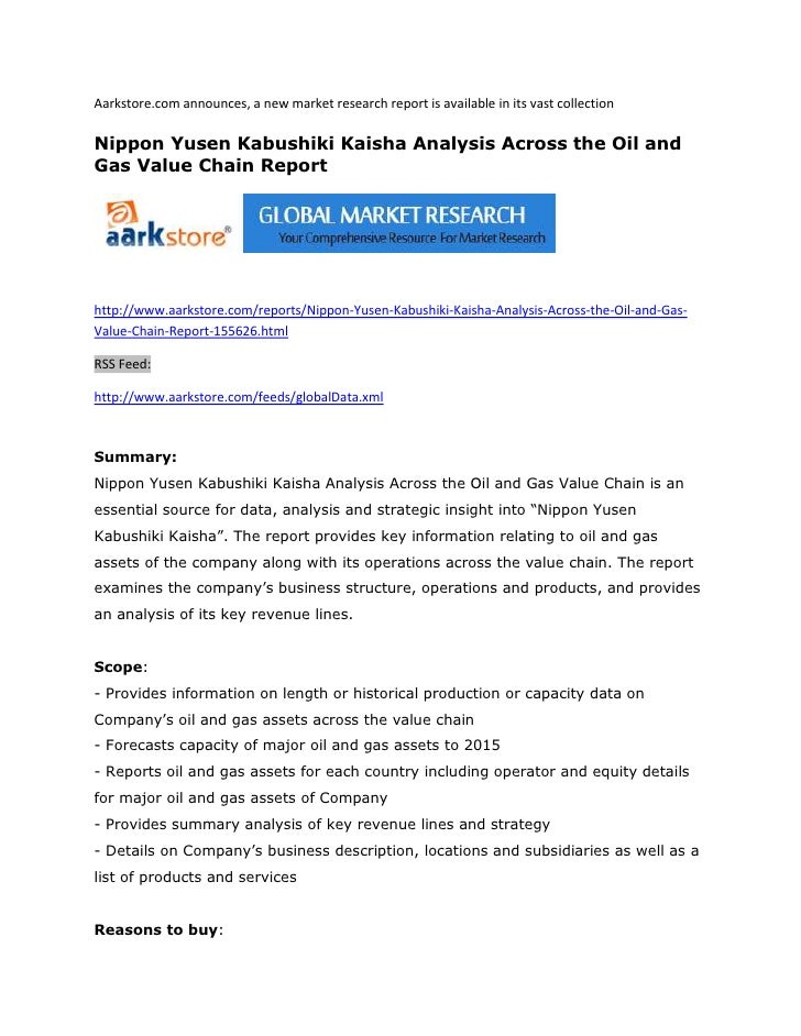 Aarkstore.com announces, a new market research report is available in its vast collectionNippon Yusen Kabushiki Kaisha Ana...
