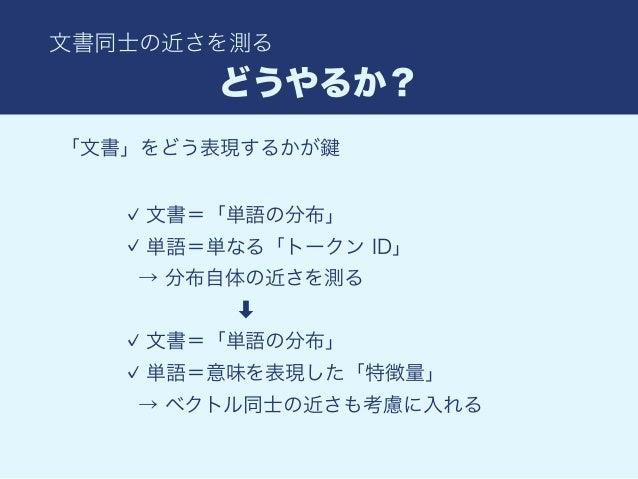 Word Mover's Distance http://yubessy.hatenablog.com/entry/2017/01/10/122737 http://www.slideshare.net/kentonozawa75/from-w...