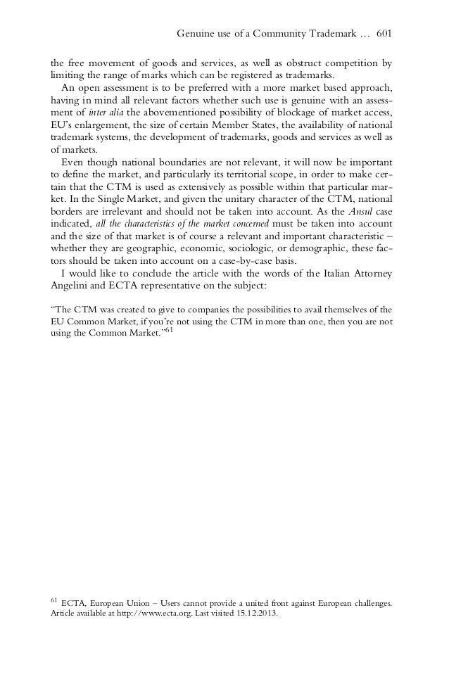 Genuine Use Of Eu Trademarks Academic Article