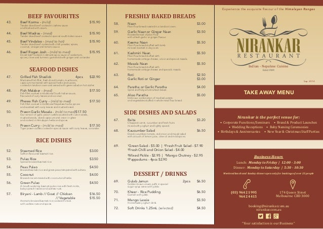 Nirankar Menu List