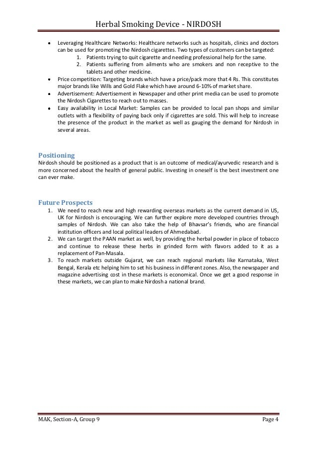 nirdosh case analysis Case analysis: bhavsar's herbal smoking device - nirdosh critical decision areas – identifying alternatives and evaluation 4 p's 1 product development.