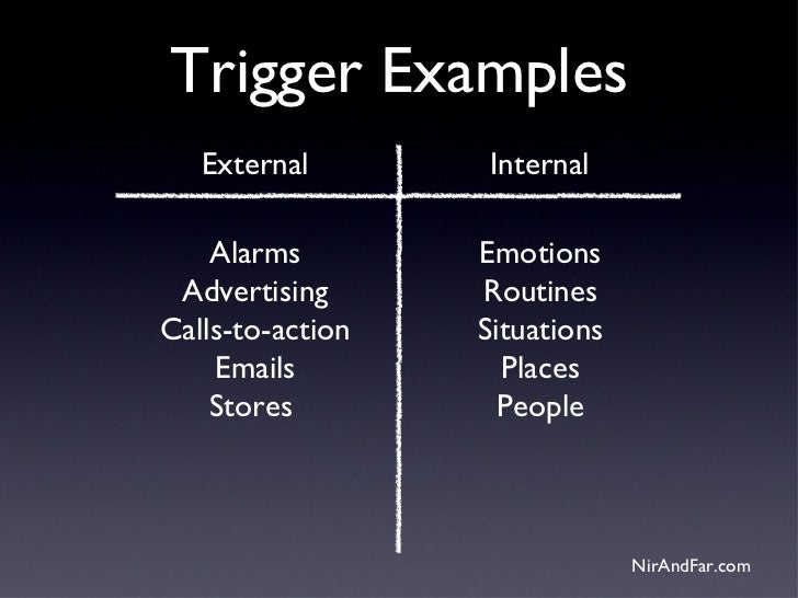 Trigger Examples   External       Internal    Alarms        Emotions Advertising      RoutinesCalls-to-action   Situations...